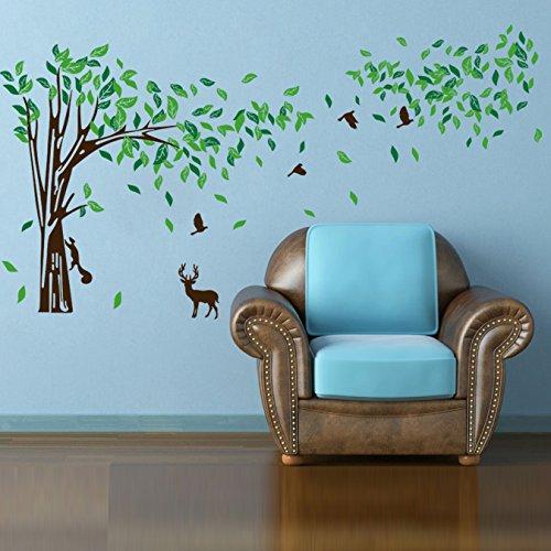 Rainbow Fox Grand autocollant mural amovible en PVC pour crèche et chambre d'enfant filles/garçons, motif fleurs de cerisier, rose, 8260, Taille L
