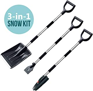 multifun Snow Shovel Kit, 3-in-1 Snow Shovel with Ice Scraper and Snow Brush, 3 Piece Collapsible Design Portable Emergency Snow Shovel Set for Car Truck Camping and Other Outdoor Activities