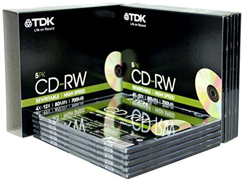 TDK T18791 4X-12X Speed 700MB 80min CD-RW - Slim Jewel Case 10 Pack