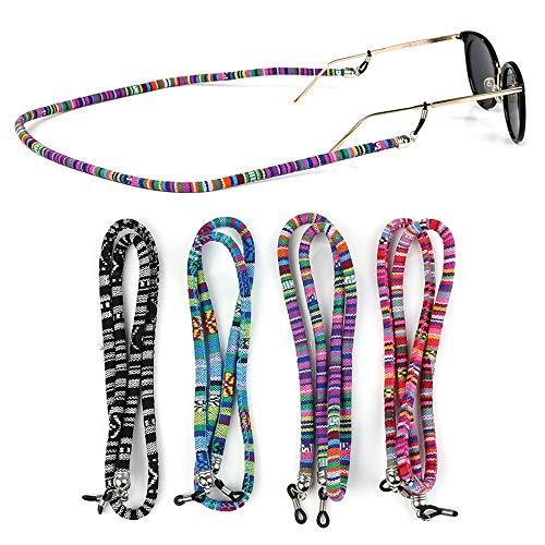 Crazy-M 4 Pezzi Cinturino per Occhiali colorato per Occhiali da Sole e Occhiali da Lettura Cavo per Occhiali monocolo per Occhiali Cinghia per Occhiali Catena per Occhiali Supporto per Catena Cordino