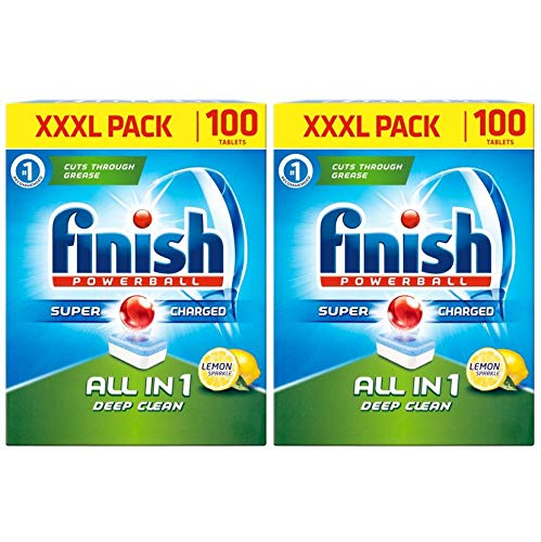 Finish Powerball All in One Deep Clean Dishwasher Tablets, Lemon Sparkle - 200 Tablets