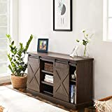 Recaceik TV Stand, Farmhouse Entertainment Center for TV up to 60 inch - Wood Console Table Storage Cabinet with Sliding Barn Door, Rustic Brown