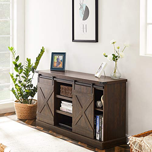 TV Stand Farmhouse Entertainment Center for TV's up to 60 inch-Wood Console Table Storage Cabinet with Sliding Barn Door | Rustic Brown