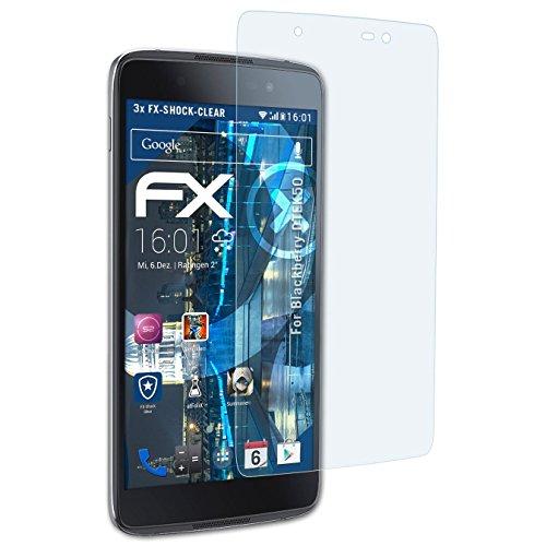 atFolix Schutzfolie kompatibel mit BlackBerry DTEK50 Panzerfolie, ultraklare & stoßdämpfende FX Folie (3X)
