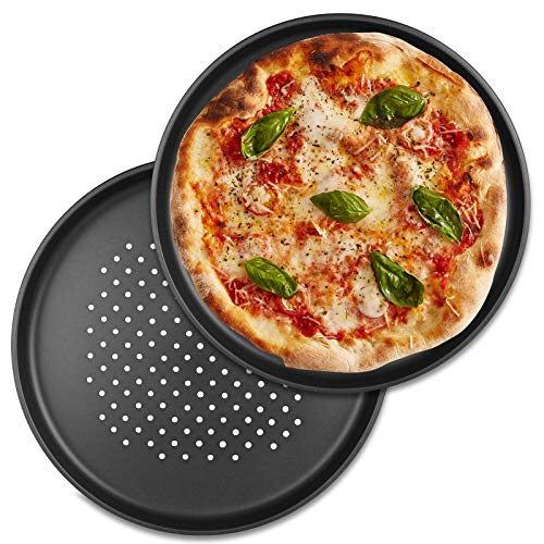 TW24 Pizzablech rund Anti Haft 32 cm Pizzabackblech Set 2 Stück Pizza Flammkuchen Backblech Flammkuchenblech Rundblech