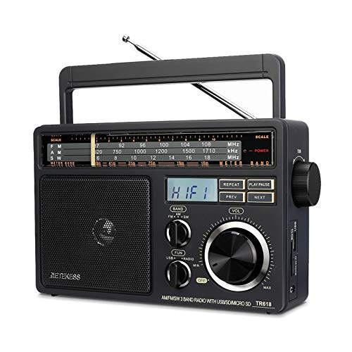Retekess TR618 AM FM Radio Plug in Wall, Portable Shortwave Radios, Analog Radio with Best Reception, Support SD,TF, USB, Ideal for Home and Elderly