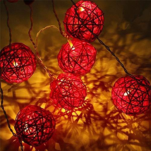 Morbuy Guirlande Lumineuse Boule, Batterie Lumineuse Boules 20 LED Boules Longueur 2 Mètres Alimenté par Batterie Ficelle Lumière Décoration pour La Saint Valentin Noël Fêtes (Rouge)