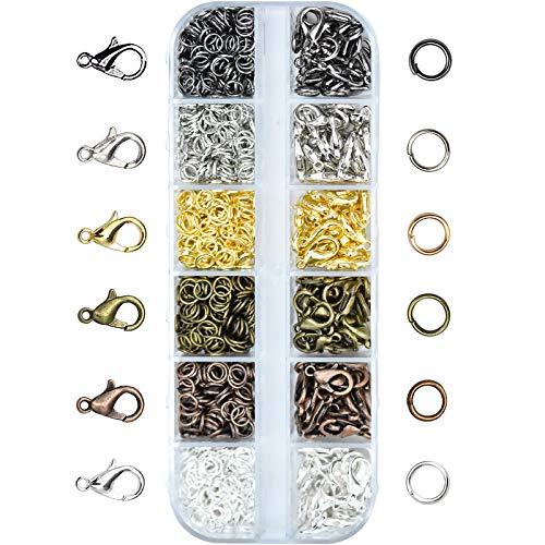 Kupink 6 Farben Karabinerverschluss Kettenverschluss Schmuckverschlüsse Schmuck Karabiner Verschluss Hummer Greifer Haken und Öffnen Sprung Ringe für Halsketten Armband DIY Schmuckherstellung