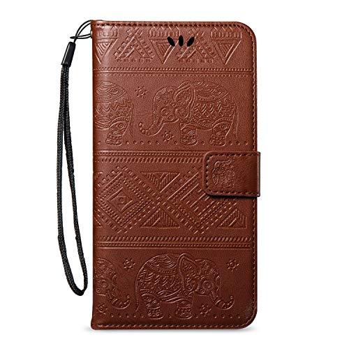 kompatibel mit Sony Xperia XA1 Plus Hülle,Sony Xperia XA1 Plus Schutzhülle Leder Tasche Flip Hülle,Prägung Elefant PU Lederhülle Brieftasche Flip Hülle Kunstleder Wallet Tasche Cover,Braun
