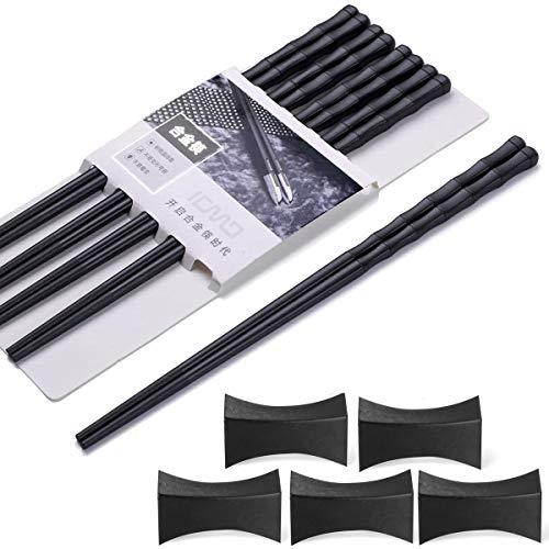 Palillos para comer 5 pares + 5 piezas de palillos japoneses Chopsticks Negro chino palillos de aleación para vajilla asiática reutilizables Palillos lavables para lavavajillas Set