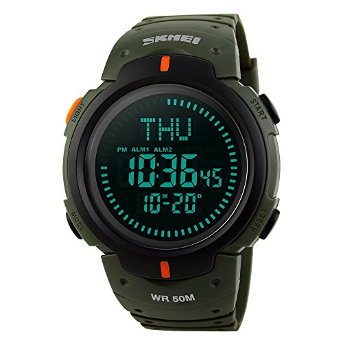 TONSHEN Brújula Relojes de Hombre Deportivos LED Digitales Outdoor 50M Resistente Agua Militares Táctica Plástico Goma Relojes de Pulsera LED Display 12H/24H 3 Alarma para Aventura Viaje (Verde)