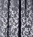 NOVUM fix Vorhang mit Schlaufen * zusätzliches Kräuselband * Dekoschal Jacquard-Gewebe 140x245 cm (BxH) * Silber-Grau - 3