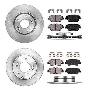 CRK13661 FRONT 300 mm + REAR 283 mm Premium OE 5 Lug [4] Rotors + [8] Quiet Low Dust Ceramic Brake Pads + Clips