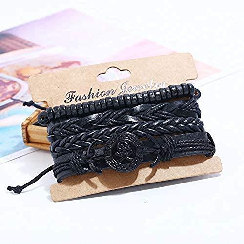 NanXi Punk Rock Skull Charm Bracelet Vintage Set retro Gothic Pirate Skeleton Jewelry Beads Rope Woven Leather Wrap Bracelet Men Women
