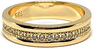 خواتم من زركونيوم مكعب للنساء، لون ذهبي، نمط كلاسيكي، مناسبة لجميع المناسبات