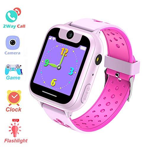 Zeerkeer Kinder-Armbanduhr, Farb-Touchscreen, wasserdicht, Zwei-Wege-Anruf, SIM-Karte, Telefon-Uhr für Kinder Free Size Rosa