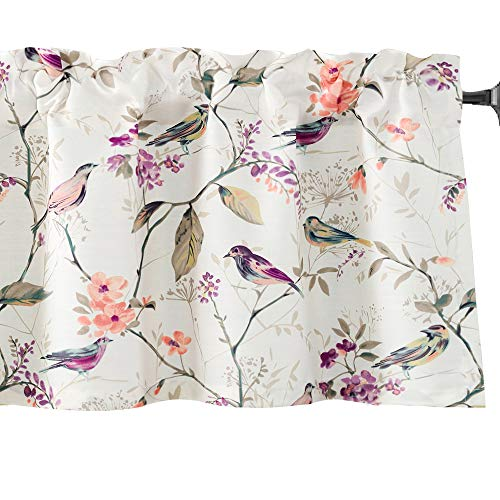 VOGOL Bird Pattern Kitchen Valances for Windows, Pocket Window Curtains Valance for Living Room 52 Inch Wide by 18 Inch Long