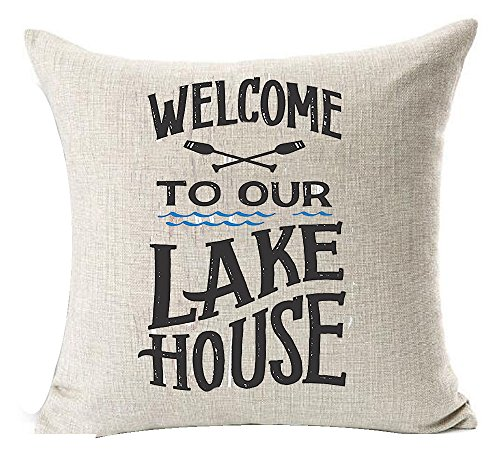Andreannie Welcome to Our Lake House Cotton Linen Throw Pillow Cover Cushion Case Home Decorative Square 18X18 inches (B) ¡