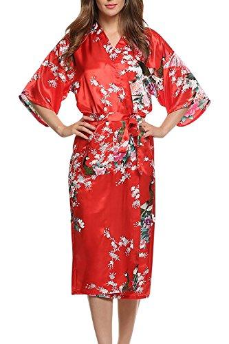 Dolamen Mujer Vestido Kimono Satén, Camisón para mujer, Pavo & Flores Robe Albornoz Dama de honor Ropa de dormir Pijama, Estilo largo (Small, Rojo)