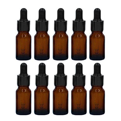 Esencial Botella de Aceite[10PCS],Vococal® Portátiles 10ML Botellas de Vidrio Recargables Vacías para Aceite Esencial/Perfume/Líquido,Envases Botellas con Cuentagotas (Marrón)