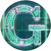 Letter G Initial Monogram Family Name Dual Color LED看板 ネオンプレート サイン 標識 白色 + 緑色 300 x 400mm st6s34-i3444-wg