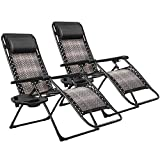 Patiomore Outdoor Zero Gravity Brown Wicker 2-Pack Padding Chair, Patio Adjustable Folded Recliner Lounge Rattan Pool Chair with Pillow & Holder Tray, Patio Chair for Beach Deck Pool