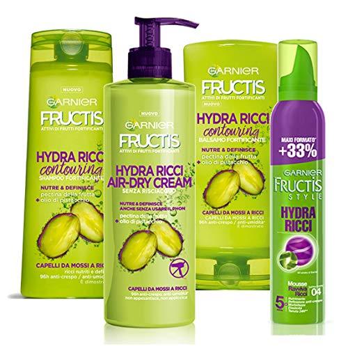 Garnier Shampoo, Balsamo, Trattamento e Mousse Fructis Hydra Ricci Styling per Definire i Capelli Ricci - 2000 g