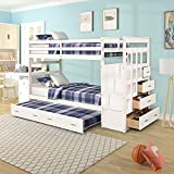Bunk Bed for Kids, Twin Over Twin Bunk Bed with Trundle and Staircase, Trundle Bed with Rails (White)