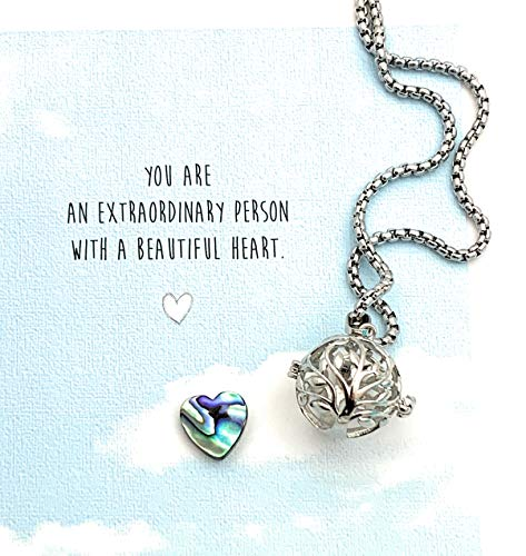 Smiling Wisdom - Tree Locket with Abalone Heart Sweater Necklace & Encouraging Inspiring Gift Set - Beautiful Heart Greeting Card - Her Woman Sister Friend Daughter Teacher Mom - Stainless Steel