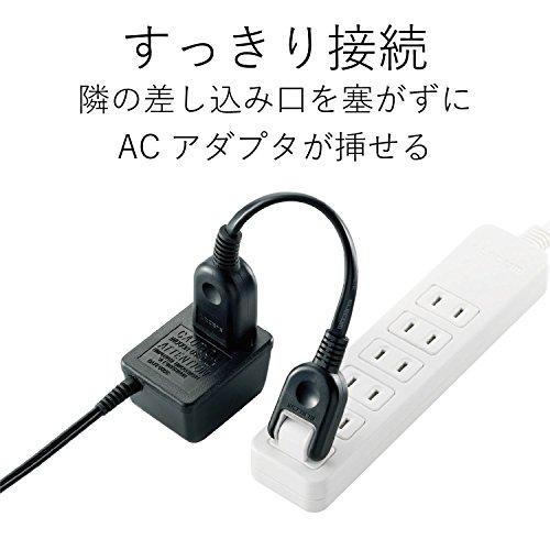 エレコム 電源タップ 電源延長コード 2P式/1個口/0.1m ブラック T-ADR1BK