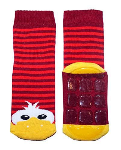 Weri Spezials Baby & Kinder Voll-ABS Voll-Frotee Anti-Rutsch Socken für Jungen & Mädchen mit Ente in verschiedenen Motive- & Farbvariationen. (19-22, Rubin)
