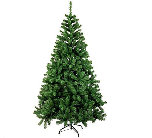 Albero di Natale Pino Verde Altezza 210 CM in PVC 1100 Punte con Base A Croce in Metallo