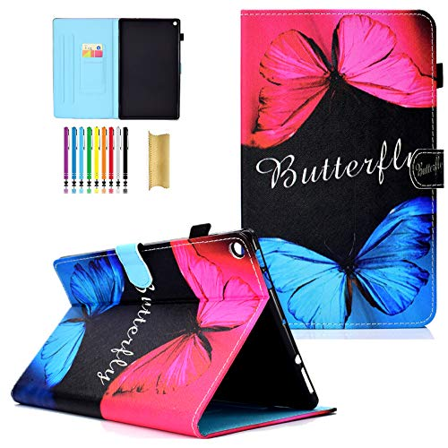 LittleMax Fire HD 10 Case, Colorful Synthetic Leather Kickstand Soft Gel Protective Cover with Auto Wake/Sleep for Amazon Kindle Fire HD 10.1 Inch 7th Gen & 5th Gen -4 Rose Blue Butterfly