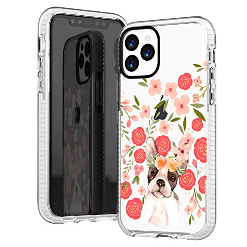 iPhone 11 Pro Clear Case,Trendy Funny Puppy Dog French Bulldog with Pink Flowers Floral Daisy Roses Blooms Girls Women Cute Lovely Soft Protective Clear Case with Design Compatible for iPhone 11 Pro