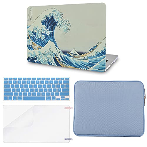"""LuvCase 4in1 Laptop Case Compatible with MacBook Pro 13""""(2016-2021) + Touch Bar A2338 M1/A2251/A2289/A2159/A1989/A1706/A1708 Hard Shell Cover,Slim Sleeve,Keyboard Cover&Screen Protector(Japanese Wave)"""