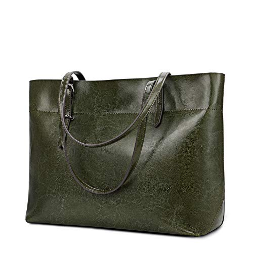 """❤MATERIAL❤ Waxed shiny cowhide made-well LEATHER TOTE BAG, top zipper closure.Original type handbags (without rivets) and Updated type handbags (rivets included) on sale, ship randomly. ❤CAPACITY❤ (L*H*D) 13.77""""*10.63""""*5.11""""; Handle Strap: 10.24""""; NW..."""