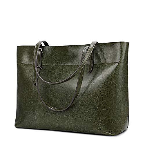 Kattee Vintage Genuine Leather Tote Shoulder Bag for Women Satchel Handbag with Top Handles (1-Green)
