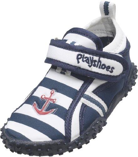 Playshoes Aquaschuhe, Badeschuhe Maritim mit höchstem UV-Schutz nach Standard 801 174781, Jungen Aqua Schuhe, Blau (original 900), EU 24/25