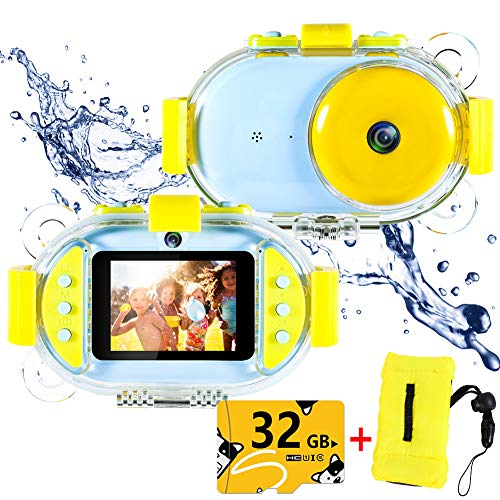 Kids Underwater Camera,ROTEK Dual 8MP 1080P Super HD Waterproof Digtial Camera with 2.4inch IPS Screen 32G Memory Rechargeable Front and Rear Selfie Video Camera for Children,Boys,Girls,Swimming(Blue)