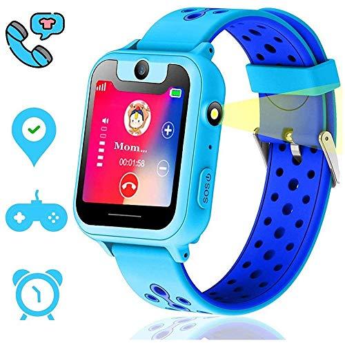 KJRJSB Kids Positioning Smart Watch Phone, Smart Watches for Girls Boys 1.44'' Touch Screen Game Smartwatch, Camera, Flashlight for Children Best Gift (Color : Blue)