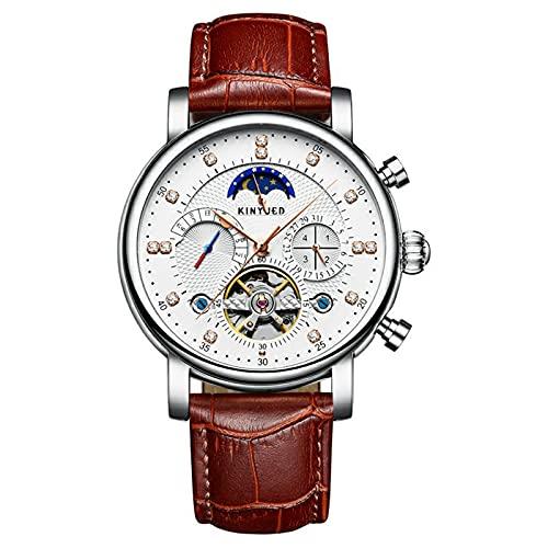 Reloj mecánico automático para hombre, diseño clásico, impermeable, con tachuelas de diamante, Tourbillon, relojes mecánicos, luminosos de negocios, de moda, casual, deportivo, color marrón
