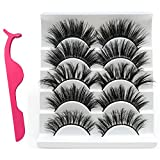 3D Mink Eyelashes with Eyelash Auxiliary Clips, 14mm-20mm Hand Made Strips Lashes Soft Thick Crossed Cluster False Eyelashes Black Nature Fluffy Long for Women Reusable Fake Lashes 5 Pairs