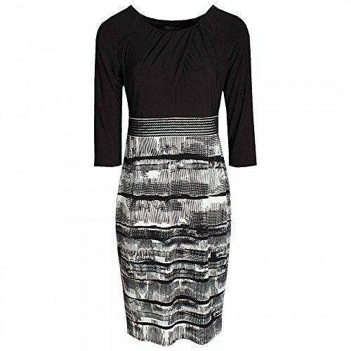 Michaela Louisa Monochrome Long Sleeve Fitted Dress 16 Black Multi