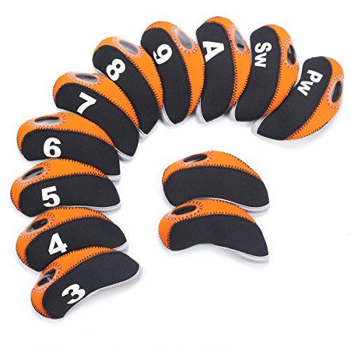 SummerHouse 12 Pcs Waterproof Golf Iron Head Covers 3-9 A/S/P/Lw/Lw Oversize Soft Pu fit Taylormade M1 Callaway Titleist AP2 Ping G Cobra PXG 0311 / 0311T etc Iron Sets Head (Neoprene-Orange)