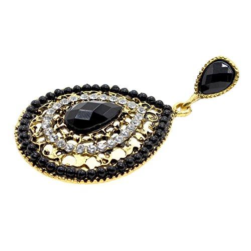 VANKER Vintage Bohême Style Diamant Évider Boucle d'oreille Résine Coeur Perlé Noir