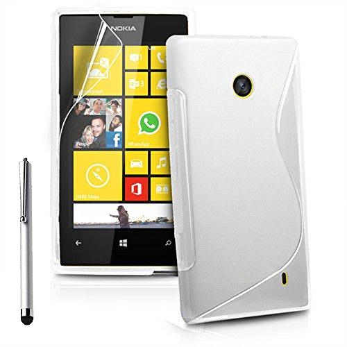 ANNART Carcasa S-LINE TPU Gel Silicona Suave Para Nokia Lumia 520/525 + Lápiz Óptico - Blanco