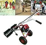 RANZIX Kehrmaschine-Benzin Schneeräumer Benzinmotor43cc 1.7PS Motorbesen Benzin Kehrmaschine Fahrwerk Schneefräse Räumgerät Schnee