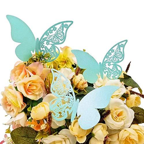 JZK® 50 x Tarjetas Etiquetas Decorativas en Forma de Mariposa Copa de Vino Tarjeta para Boda Invitaciones, Agradecimiento, Regalo, Detalle de Boda, cumpleaño, comunión, Bautizo o Fiesta (Azul)