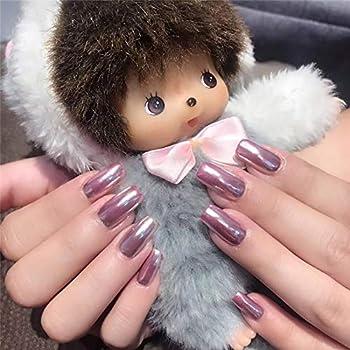 BABALAL Square Fake Nails 24Pcs Pink Metallic Mirror Effect False Nails Shiny Press on Nails for Women and Girls