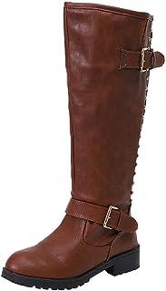6ec604b1 Logobeing Zapatos de Mujer Botines Botas Altas de Piel Romano de Mujer Botas  Mujer Tacon Cordones